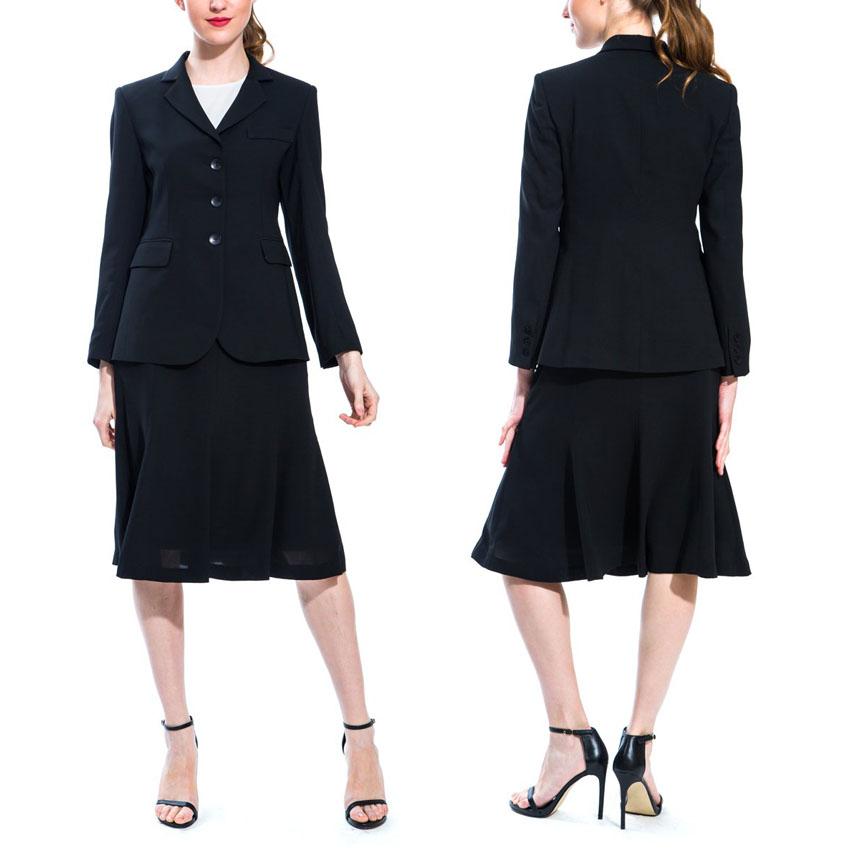 Áo vest suit kết hợp với chân váy xòe cùng màu đen