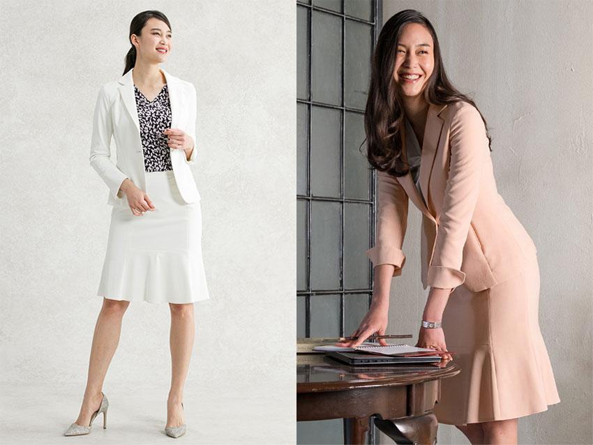 Áo vest suit kết hợp với chân váy xòe cùng màu sáng